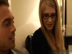 Blonde horny glasses having sex BF in hotel