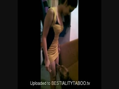 Dog Lucky Fuck Babe Girl In Sofa