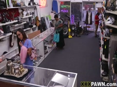 Sexy chocolate girl show her pussy to fuck in shop