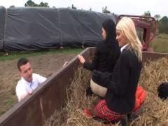 Hot farmers seduce the city sexy girls to fuck at farm