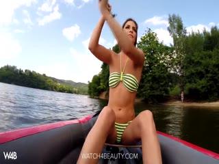 Horny young girl masturbating outdoor follow the rivers