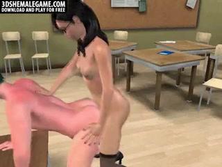 Geeky 3D cartoon shemale babe fucks a stud anally