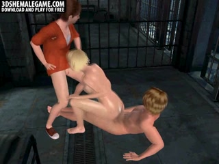 Foxy 3D cartoon blonde shemale gets double teamed