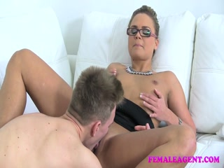 FemaleAgent MILF gets an unexpected creampie from saucy stud