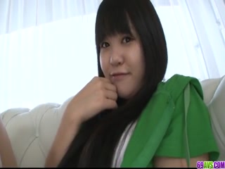 Japanese Darling In Green Shirt Drilled By Two Guys