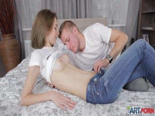 Babe Cute shaven Blonde Babe Girl gets boned in art sex movie