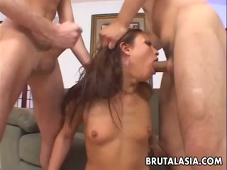 Asian bitch MILF gets pounded hard 2 hard dicks - HD Porn