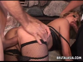 Blonde mix Asian bitch gets fucking threeway - Porn HD Free