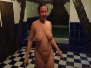 Russian mature woman in the pool