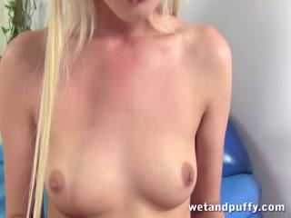 Blonde girl fucks her pussy with a bannana - HD Video   Pornbraze.com
