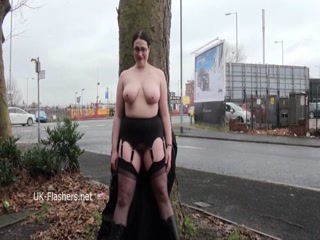 Big-breasted Gothic Wife Exposes Herself In Public