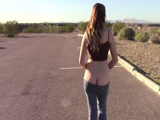 Goddess Walks Roadside Flash Ass Tits Pussy Low Rise...