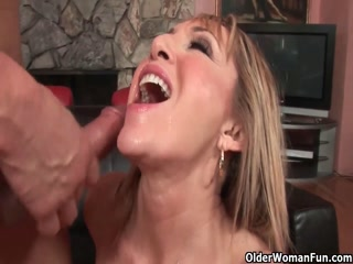 Sexy Milf Blonde Gets Some Young Stud Meat