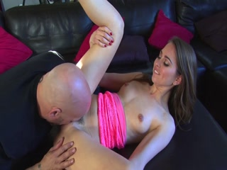 Hot Girl Fucked By A Bald Guy On The Couch