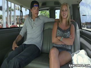 Beautiful blonde girl come in the bangbus to get creampie