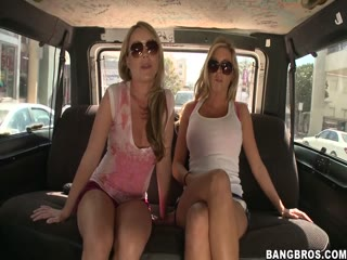 Hottest girls in the summer enjoy fun on the bang bus