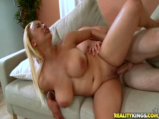 Sexy blonde girl joins for some titty bouncing action - Round and Brown