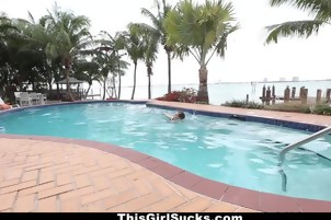 Hot Smiling Pool Chick Gets Naked And Fucks Outdoors - This Girl Sucks