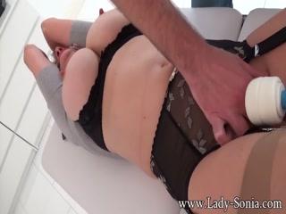 Lady Sonia busty MILF toy fuck bondage
