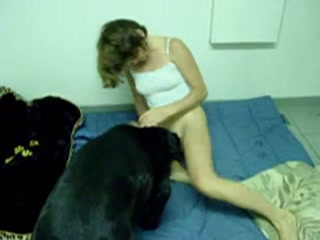 Teen girl gets banged hard by black dog porn