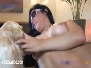 Horny woman with dog for sex