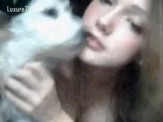 Pretty Dog licking pussy for Litte Babe Blone