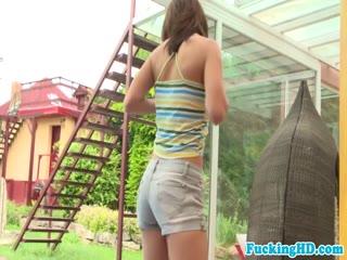 Stripteasing babe gives great blowjob outdoors - HD porn video | Pornbraze.com