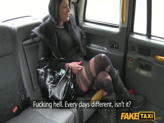Black-haired slut getting licked and fucked by a taxi driver