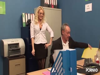 Blonde babes screwing at the office - HD Braze